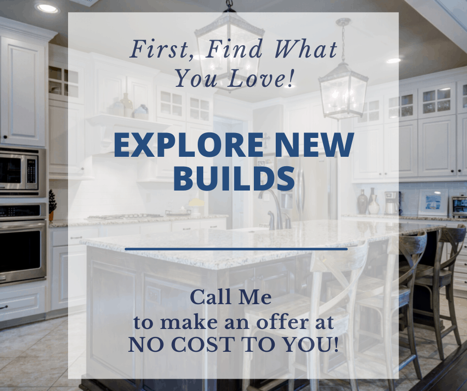 Explore New Builds sign with a new kitchen